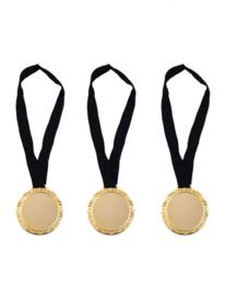 Grote gouden medaille aan lint - 3 stuks (65195E)
