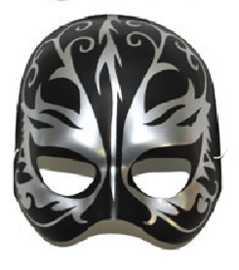 Halfmasker zwart/zilver (61376E)