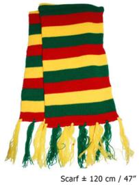Sjaal rood/geel/groen gestreept (60757E)