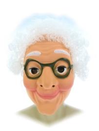 Masker oudere vrouw - witte haren (34262P)