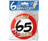 Bierviltjes verkeersbord 65 jaar - 6 stuks