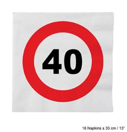 Servetten verkeersbord 40 jaar (84614E)