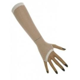 Nethandschoenen lang vingerloos Wit (60431E)
