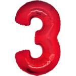 Folie Cijfer 3 - 100 cm Rood