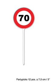 Cocktailprikkers / kaasprikkers verkeersbord 70 jaar (84414E)