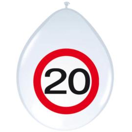 Ballonnen 20 jaar verkeersbord (30cm, 8 stuks)