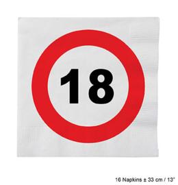 Servetten verkeersbord 18 jaar (84605E)