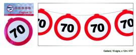 Vlaggenlijn 70 jaar Verkeersbord - 12  meter (84974E)