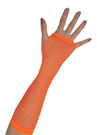 Nethandschoenen lang vingerloos Neon Oranje (80062E)
