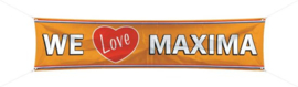 Banner / spandoek We Love Maxima -  180 x 40 cm (30688F)
