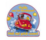 Huldeschild verkeersbord 'Hulde aan het bruidspaar!'