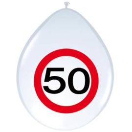 Ballonnen 50 jaar verkeersbord (30cm, 8 stuks)