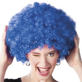 Pruik Afro Blauw (86023B)
