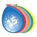 Ballonnen 15 jaar (30cm, 8 stuks)