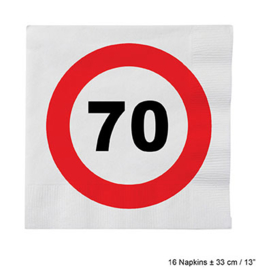 Servetten verkeersbord 70 jaar (84626E)