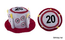 Taarthoed verkeersbord - 20 jaar (63626E)