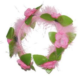 Tiara roze Bloemen (53372E)