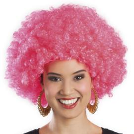 Pruik Afro Roze (86019B)