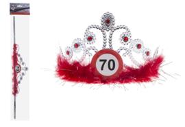 Tiara 70 jaar Verkeersbord - verstelbaar (84696E)