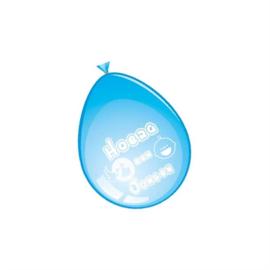 Ballonnen Hoera een Jongen - blauw (30cm, 8 stuks)