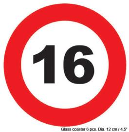 Onderzetters verkeersbord 16 jaar (84415E)