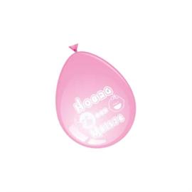 Ballonnen Hoera een Meisje - roze (30cm, 8 stuks)