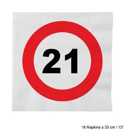 Servetten verkeersbord 21 jaar (84608E)