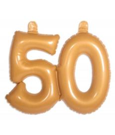 Cijfer 50 Goud opblaasbaar - 35 cm (20050F)