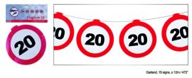 Vlaggenlijn 20 jaar Verkeersbord - 12  meter (84968E)