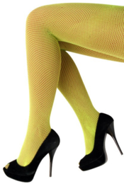 Netpanty Neon Geel fijne mazen - volwassenen (11066P)