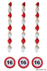 Spiraal Hangdecoratie 16 jaar Verkeersbord - 3 stuks (84932E)