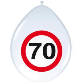 Ballonnen 70 jaar verkeersbord (30cm, 8 stuks)