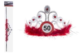Tiara 50 jaar Verkeersbord - verstelbaar (84693E)