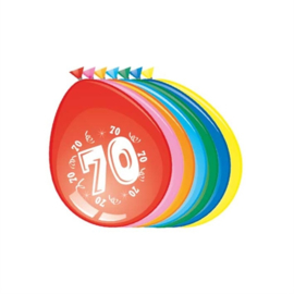 Ballonnen 70 jaar (30cm, 8 stuks)