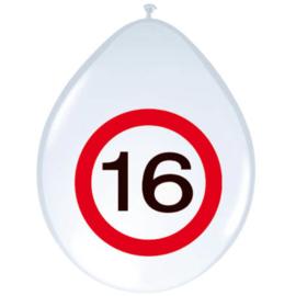 Ballonnen 16 jaar verkeersbord (30cm, 8 stuks)