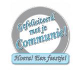 Huldeschild verkeersbord 'Communie!'