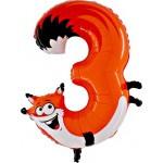 Folie Cijfer 3 - 100 cm Animaloon / Animals