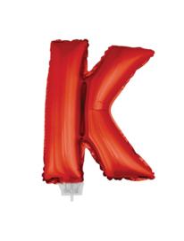 Folie Letter K - 41 cm Rood (met stokje)