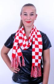 Sjaal brabants bont rood/wit geblokt (96087P)