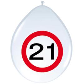 Ballonnen 21 jaar verkeersbord (30cm, 8 stuks)