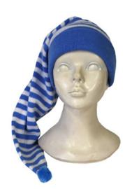Slaapmuts Blauw Wit gestreept - 60 cm (59173E)