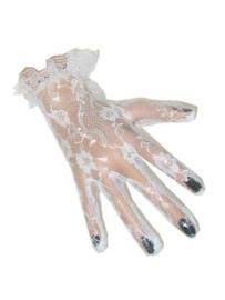 Handschoenen kant - kort Wit (12088P)