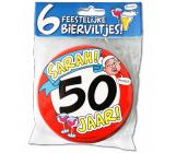 Bierviltjes verkeersbord 50 jaar Sarah - 6 stuks