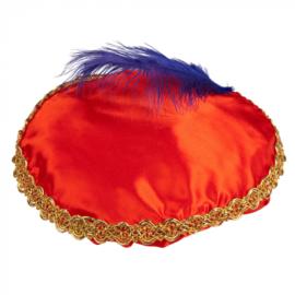 Piet baret Rood met veer (56507B)