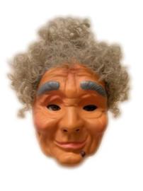 Masker oudere vrouw - grijze haren (34260P)