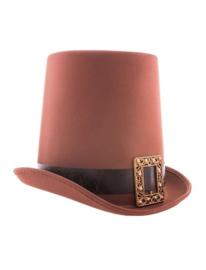 Hoge hoed vampier / steampunk  bruin (52353E)