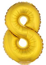 Folie Cijfer 8 - 41 cm Goud (met stokje)