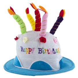Feestmuts / hoed Happy Birthday BLAUW (63532E)