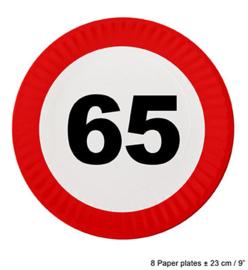 Bordjes verkeersbord 65 jaar (84622E)
