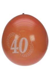 Jubileumballonnen 40 jaar rood -  8 stuks (90117P)